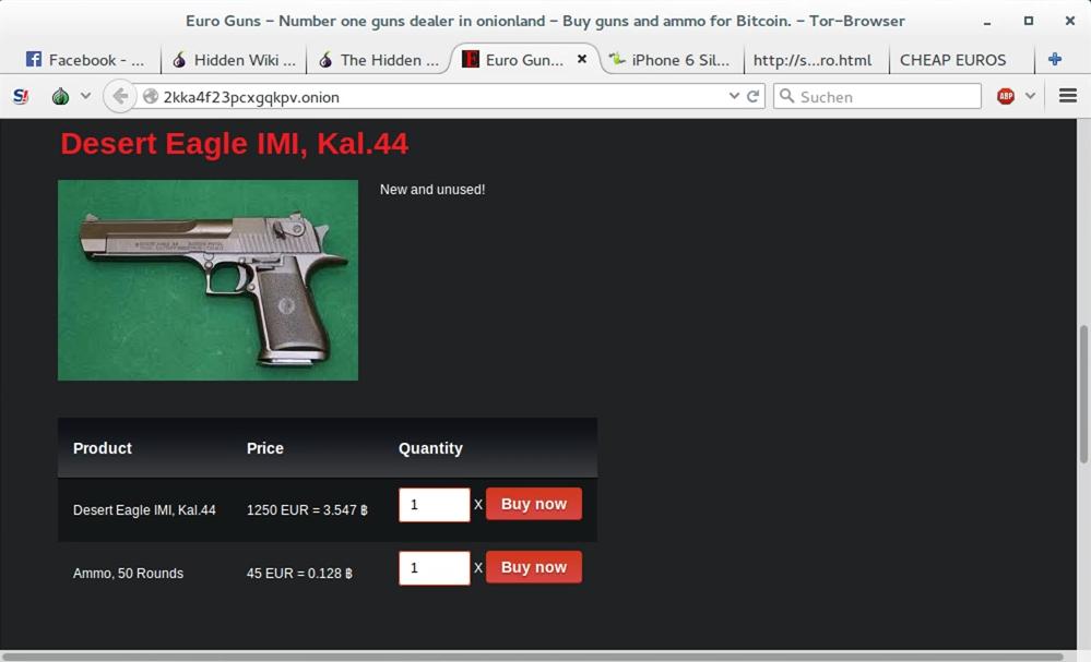 Plattform zum Kauf von Waffen | Screen: © SEK-Einsatz.de