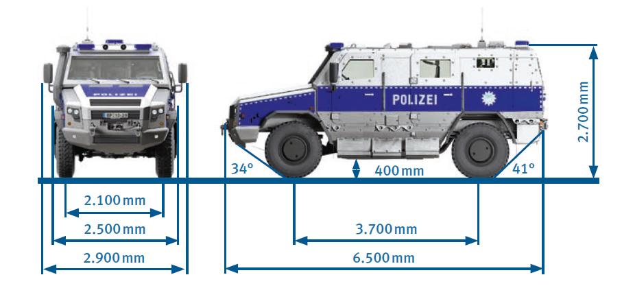 Abmessungen SURVIVOR R | Grafik: © Rheinmetall Defence