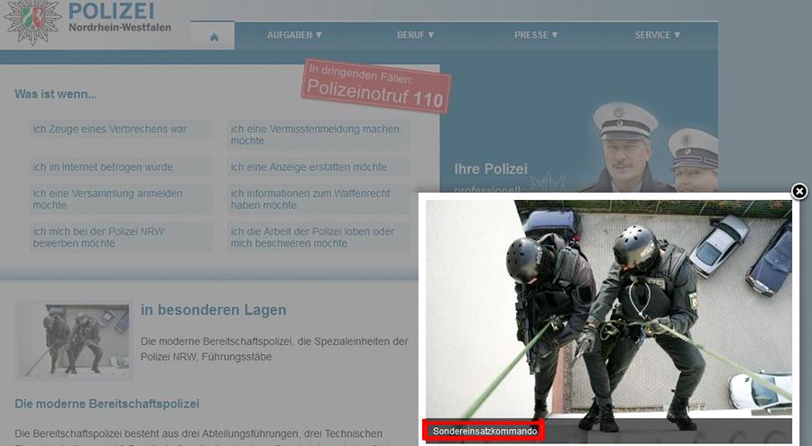 Screenshot Webseite Polizei NRW