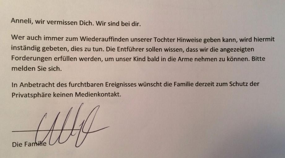 Brief der Familie | Foto: Polizei