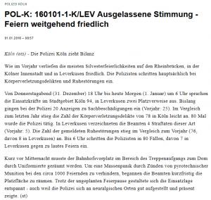Pressemitteilung Polizei Köln
